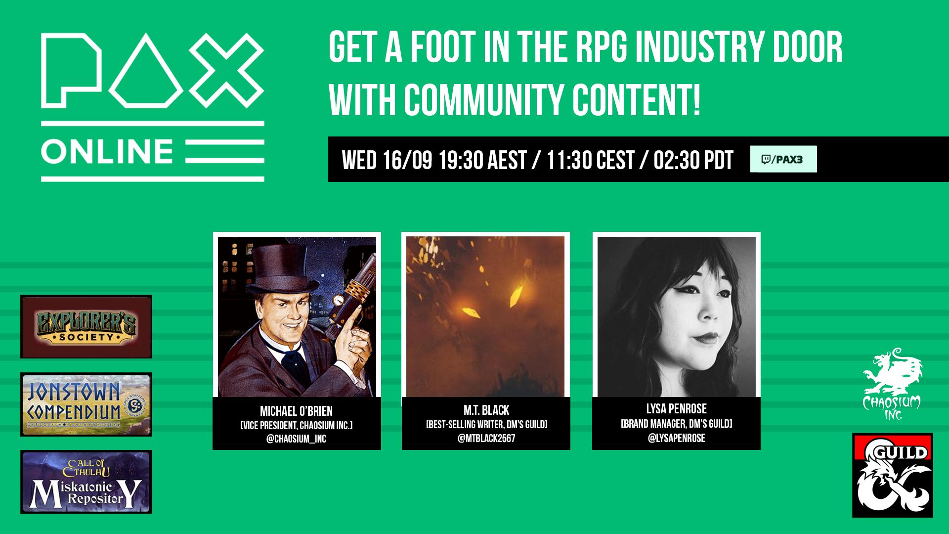 Pax Online Community Content panel