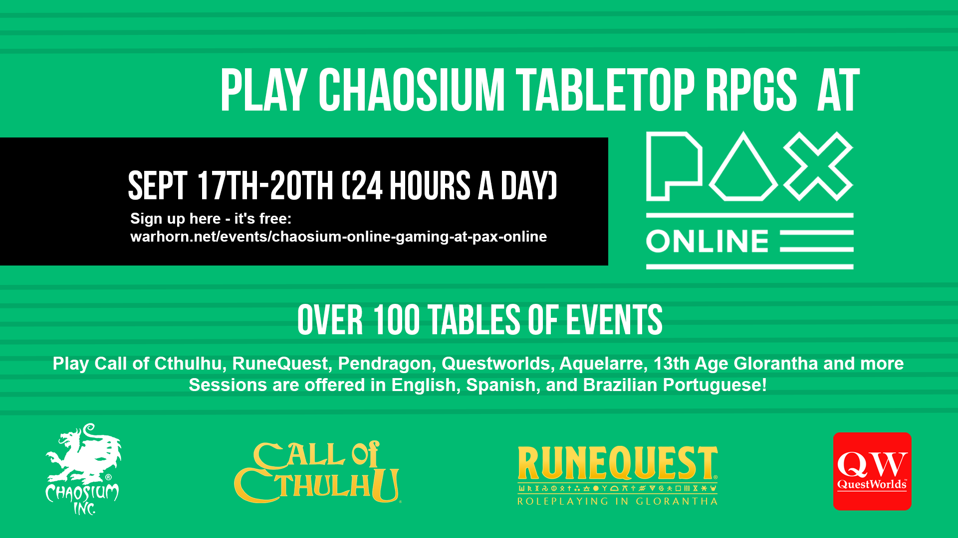 Play Chaosium TTRPGs at PAX Online