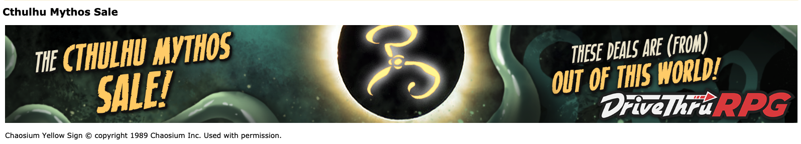 DTRPG Cthulhu Mythos Sale