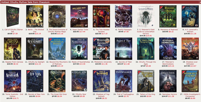 Cthulhu Mythos Sale at DTRPG