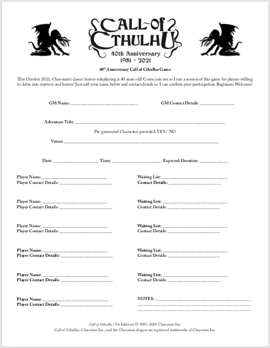 40th Anniversary Game Sign Up Sheet